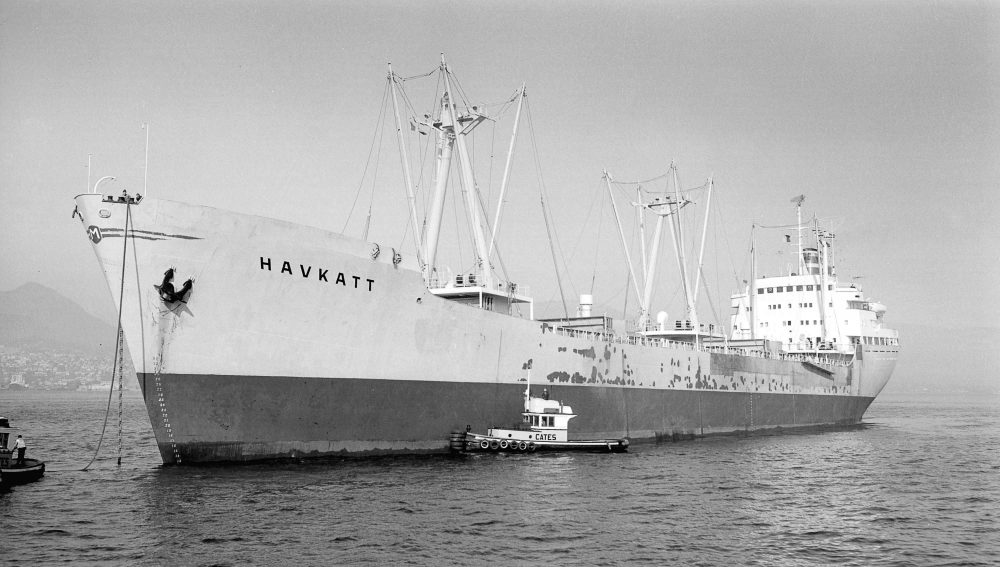 Havkatt anchored in Vancouver outer harbour, 1965. Photo: Vancouver Sun