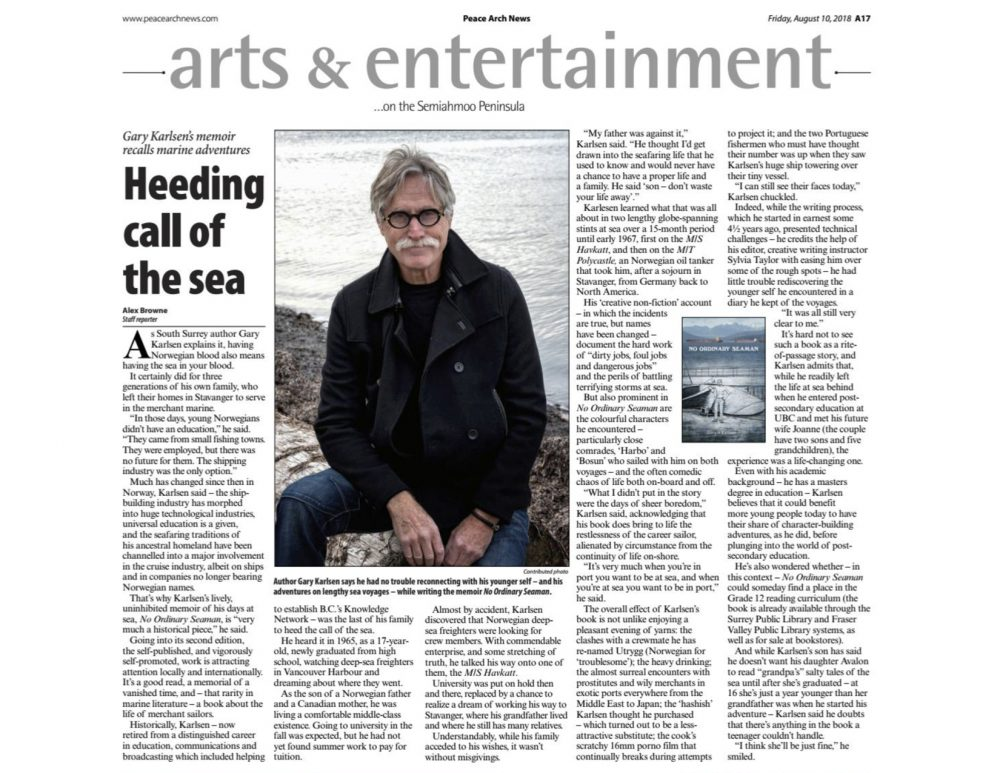 Peace Arch News story on Gary Karlsen and his memoir No Ordinary Seaman